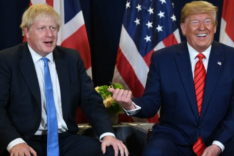 Boris Johnson and Donald Trump summit photo shoot
