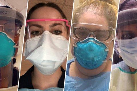 Various masks on medical staff